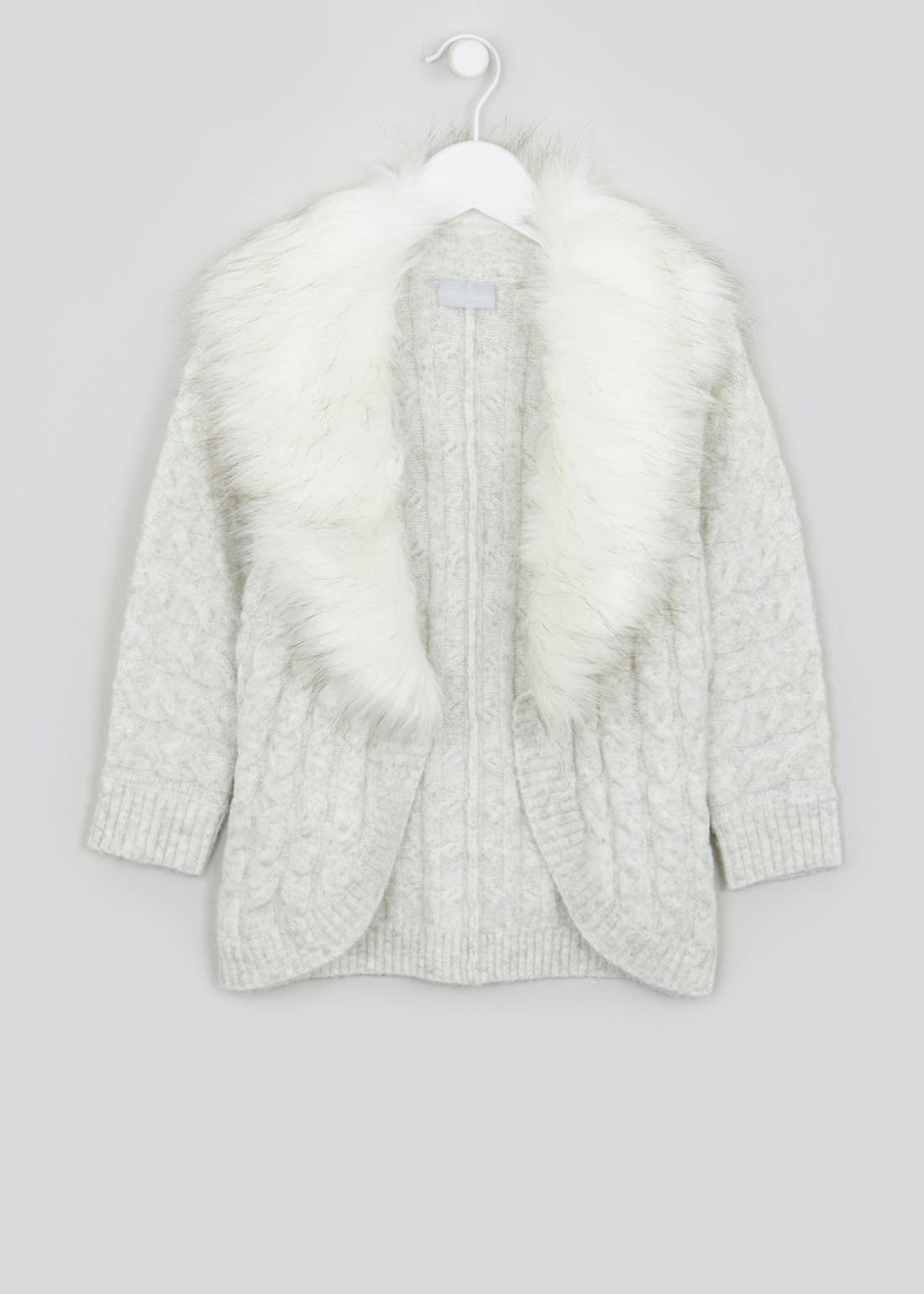 Girls Faux Fur Collar Cardigan (4-13yrs)
