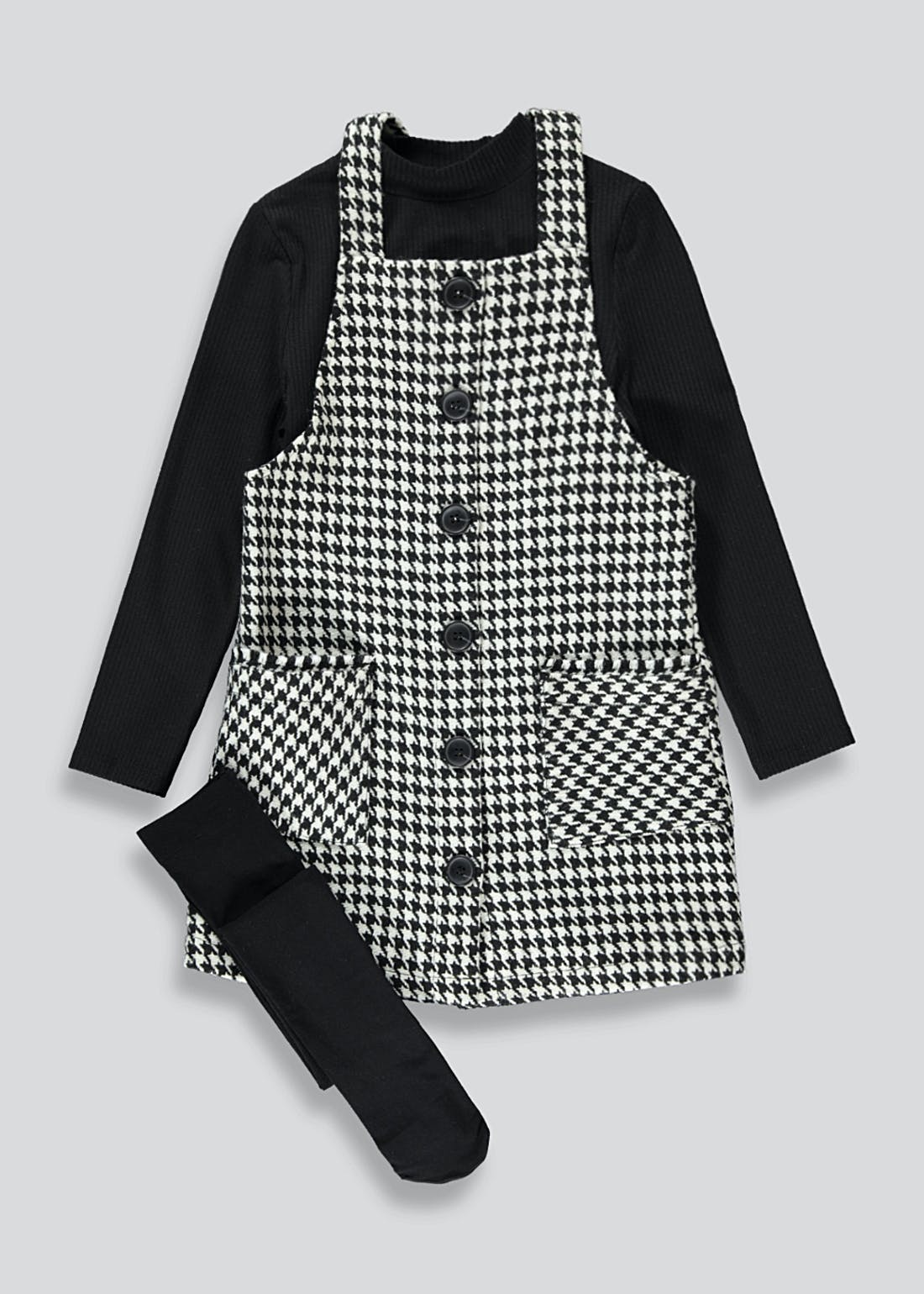 Girls Houndstooth Pinafore Top & Tights Set (4-13yrs)