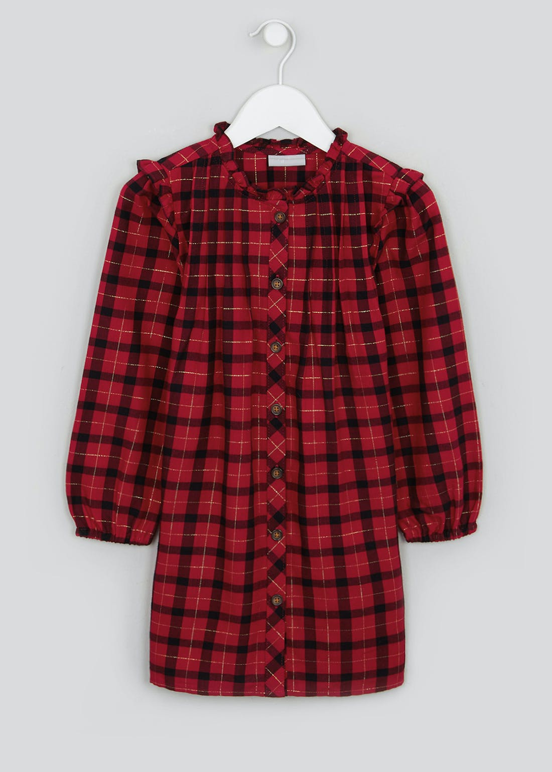 Girls Red Check Long Sleeve Tunic Dress (4-13yrs)