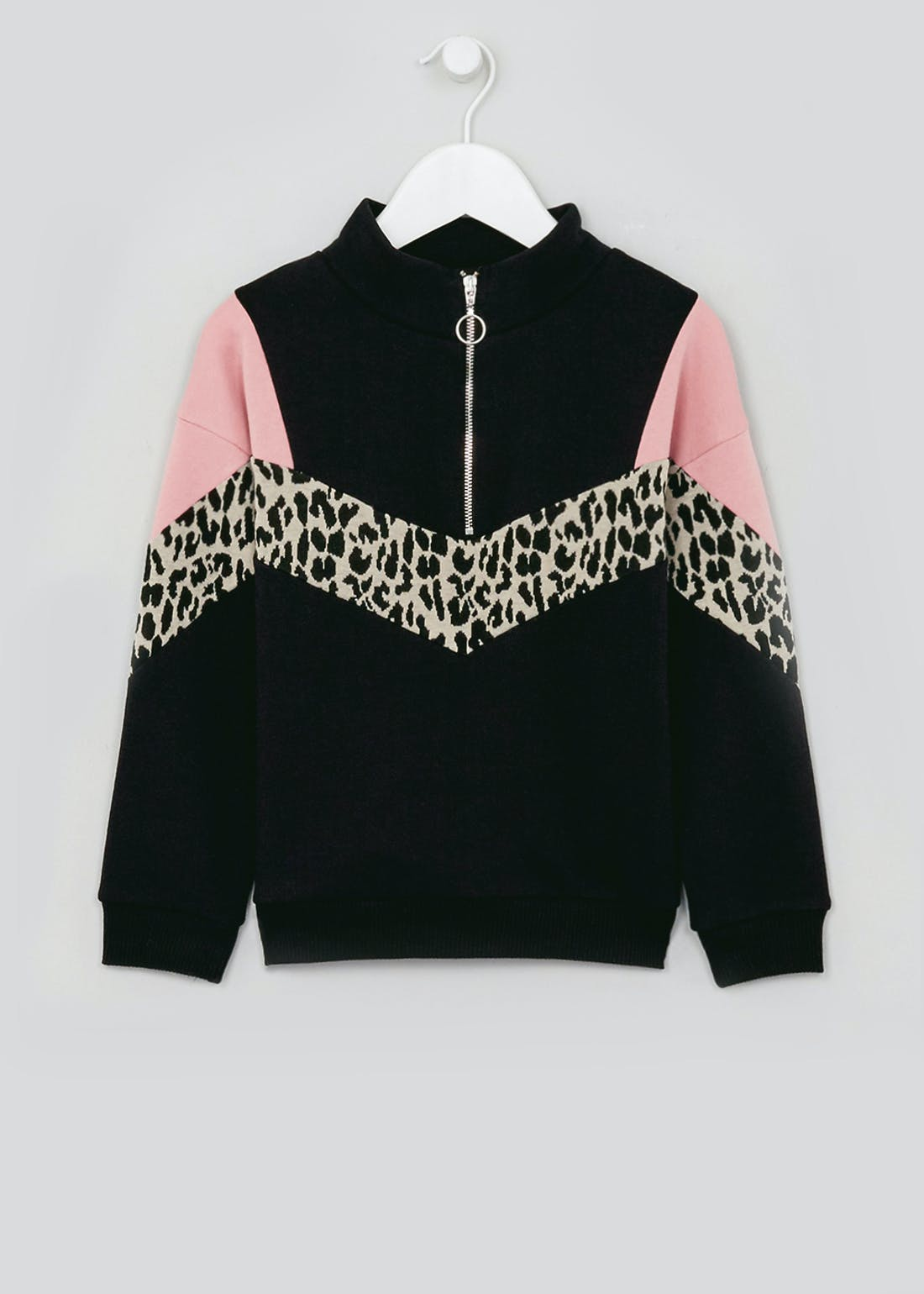 Girls Leopard Print Zip Sweatshirt (4-13yrs)