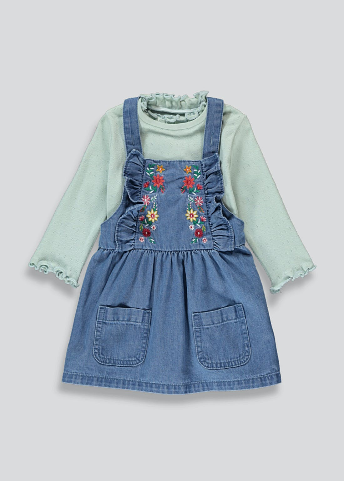 Girls Denim Pinafore & Top Set (9mths-6yrs)