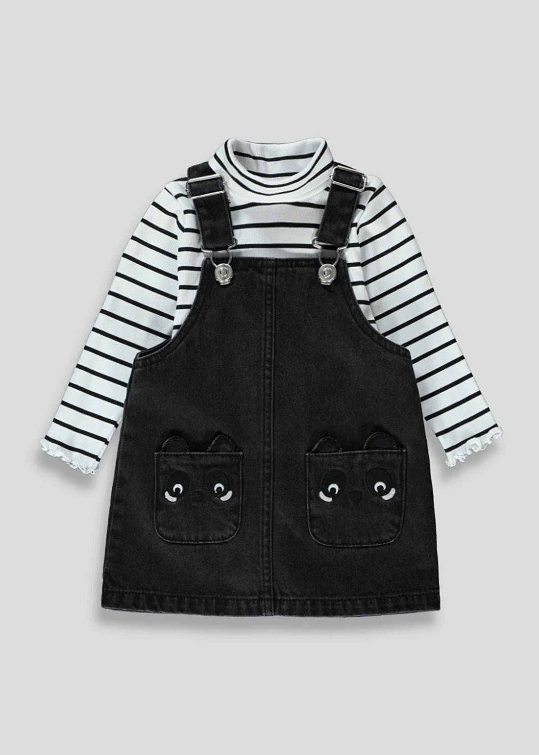Girls Panda Pocket Pinafore & Top Set (9mths-6yrs)
