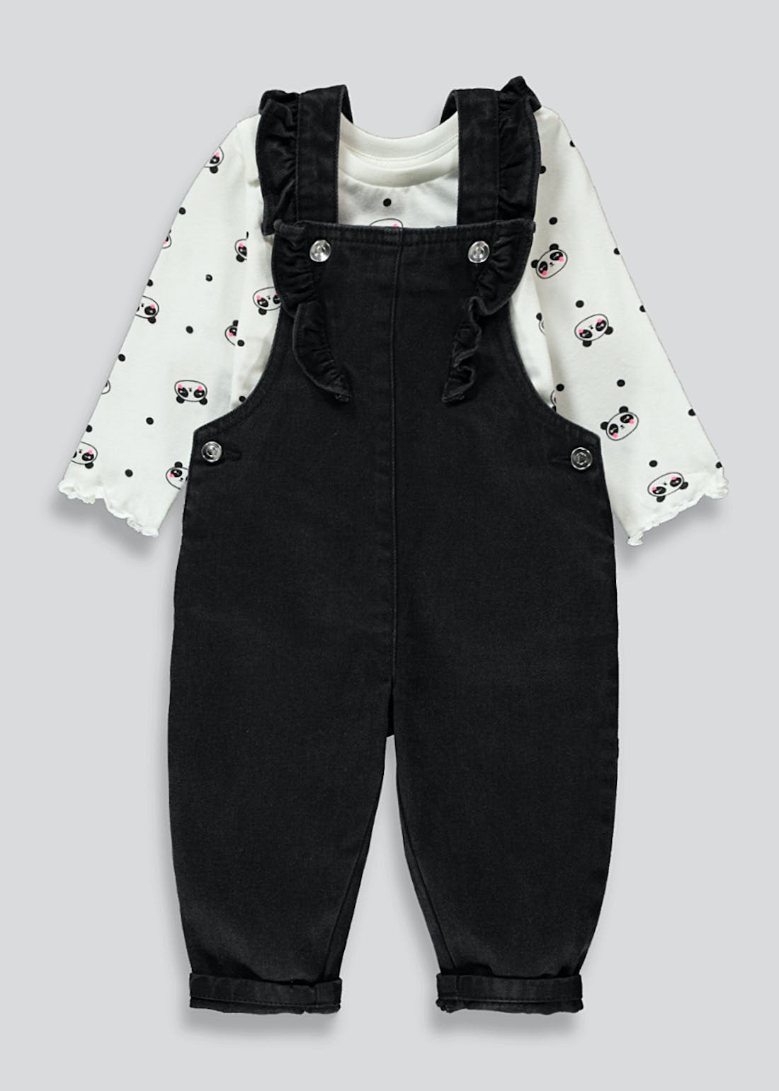 Girls Dungaree & Panda Top Set (9mths-6yrs)