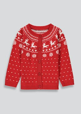 Girls Fair Isle Knit Christmas Cardigan (9mths-6yrs)