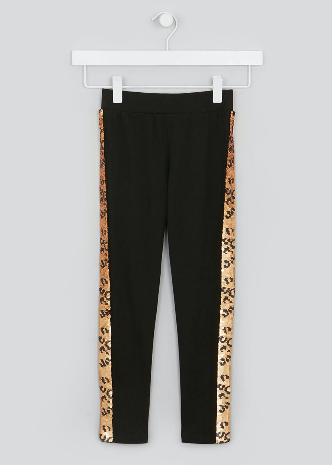 Girls Flippy Sequin Leopard Print Leggings (4-13yrs)