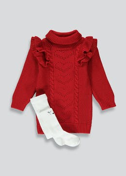 Girls Red Knitted Dress & Tights Set (9mths-6yrs)