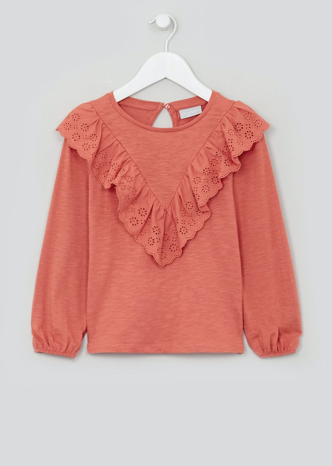 Girls Long Sleeve Lace Frill Top (4-13yrs)