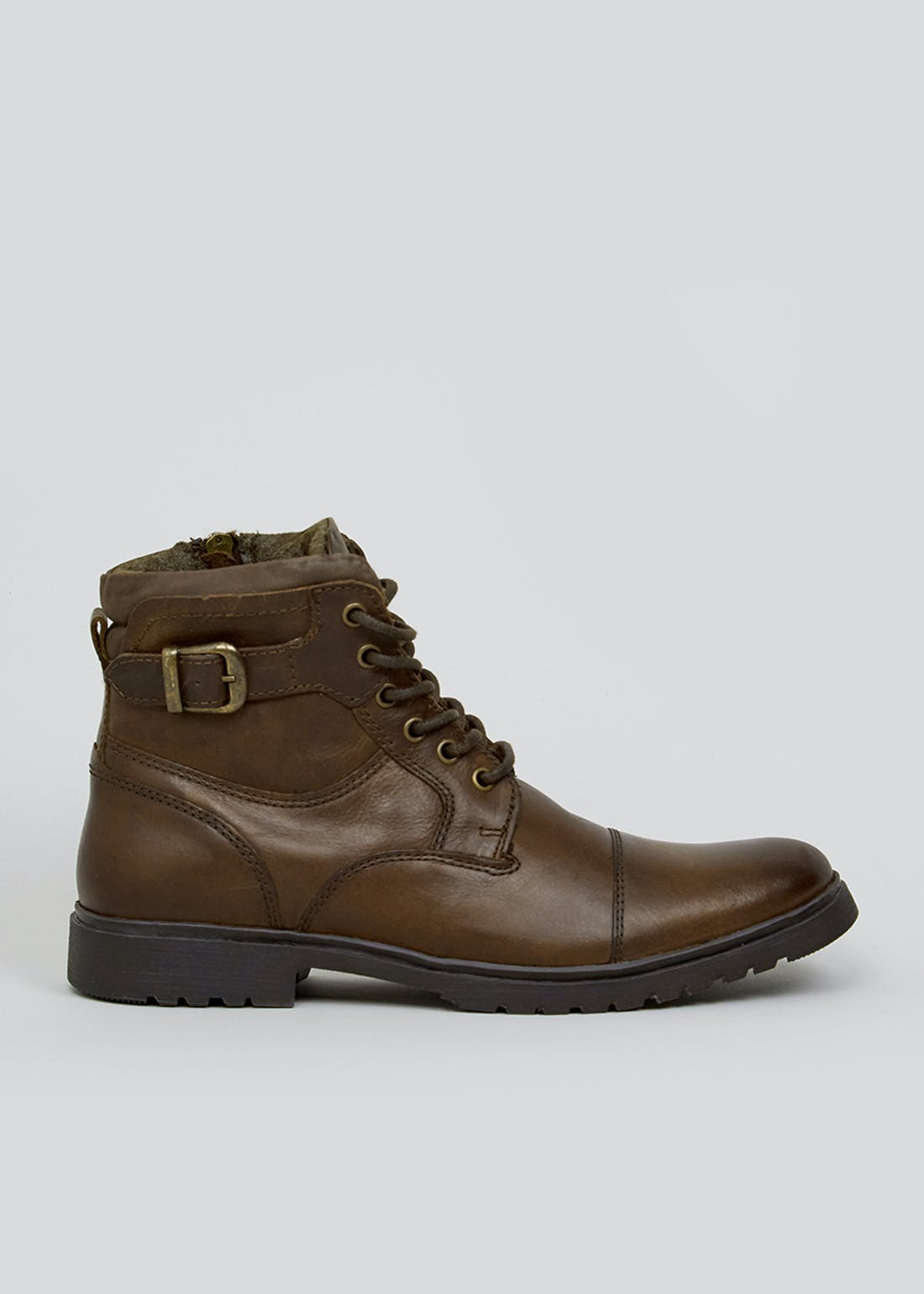 Brown Leather Lace Up Boots