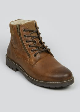 Tan Leather Fur Lined Boots