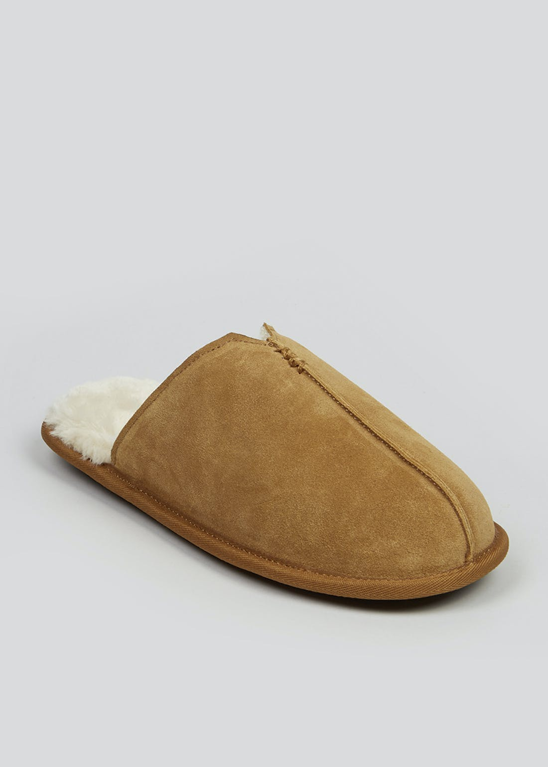 Tan Suede Mule Slippers