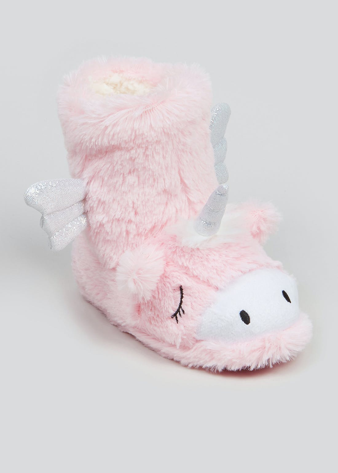 Girls Pink Fluffy Unicorn Slipper Boots (Younger 4-12)