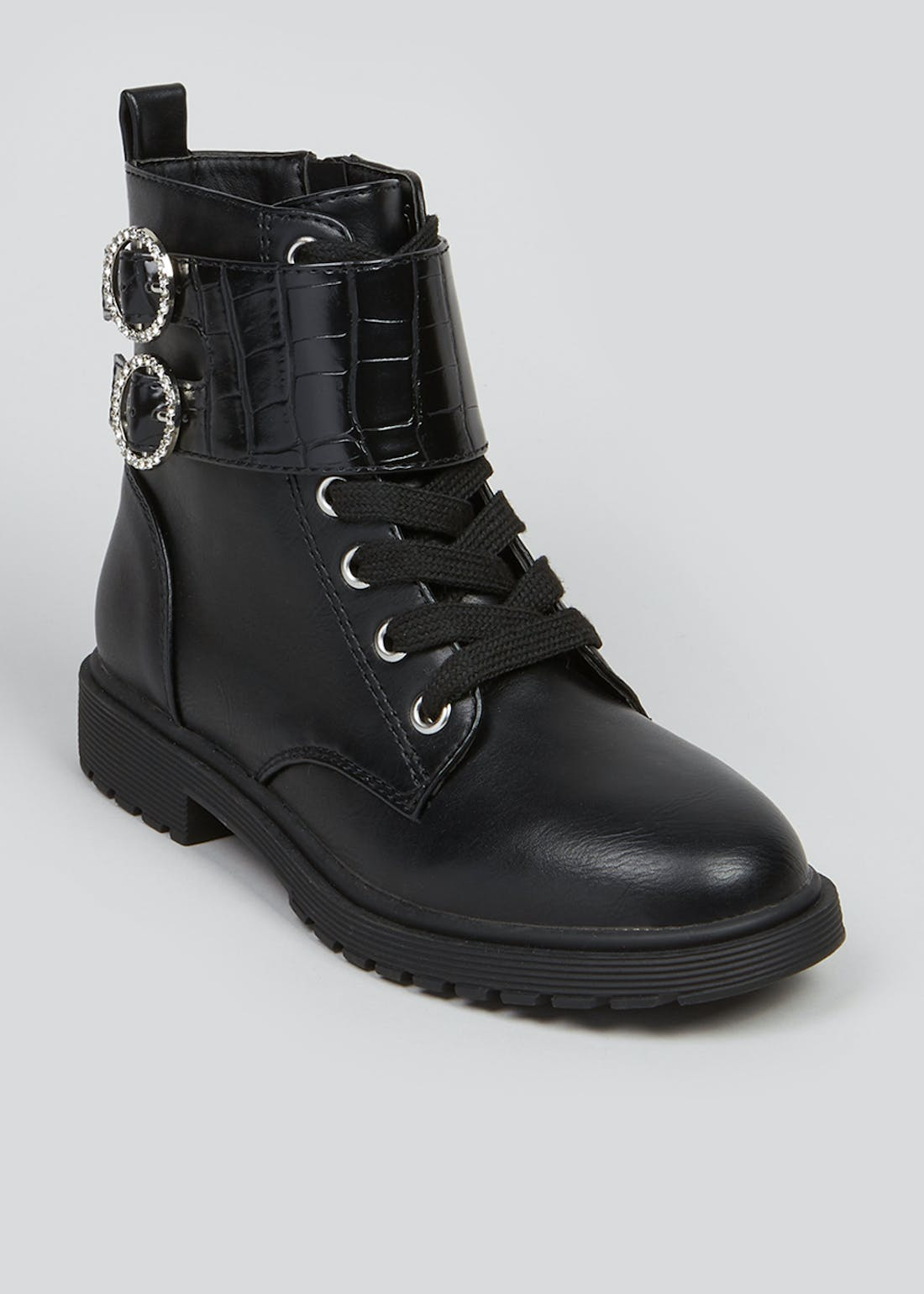 Girls Black Diamante Buckle Ankle Boots (Younger 10-Older 5)