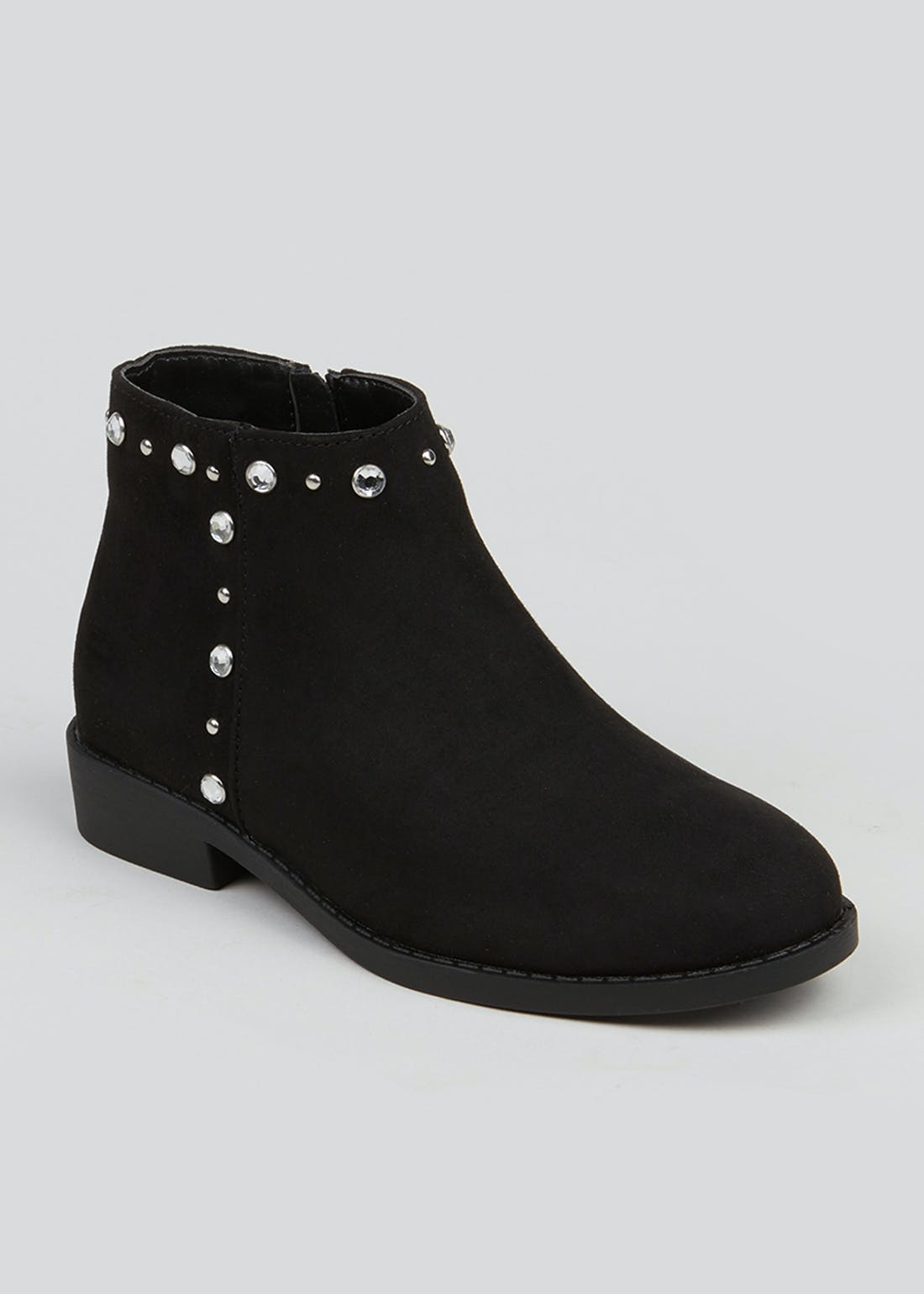 Girls Black Diamante Trim Ankle Boots (Younger 10-Older 5)