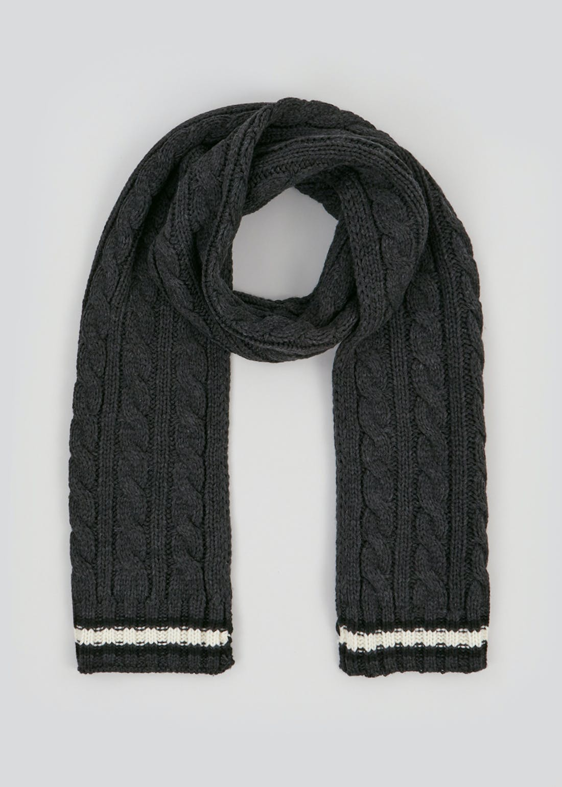 Cable Knit Stripe Scarf