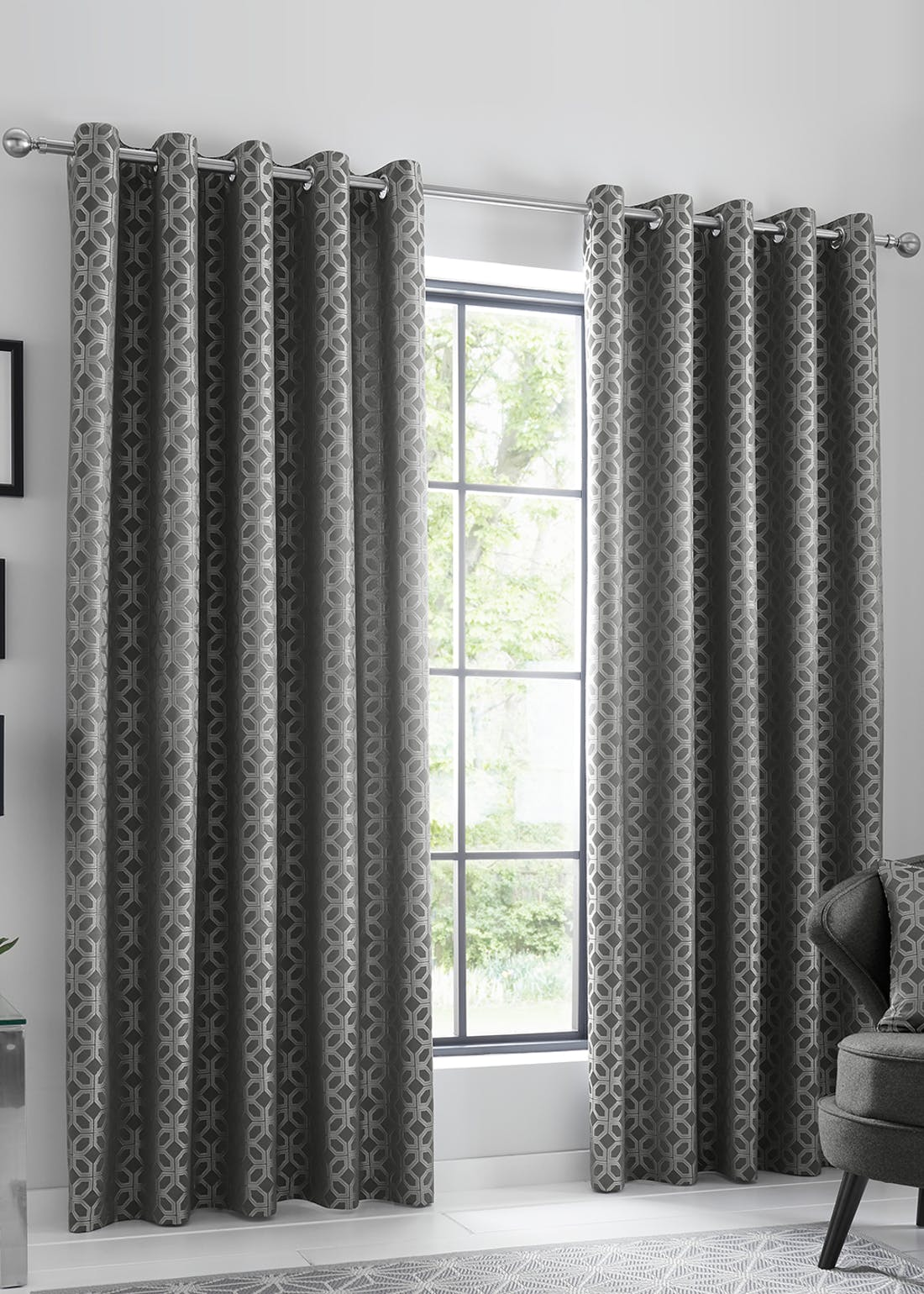 Curtina Oriental Squares Eyelet Curtains