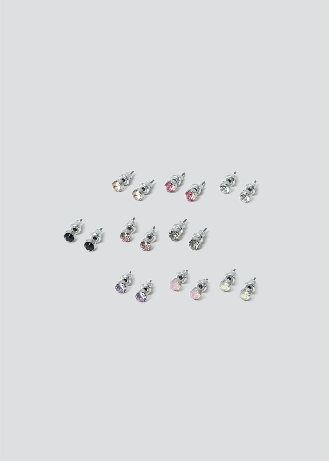 9 Pack Gem Stud Earrings