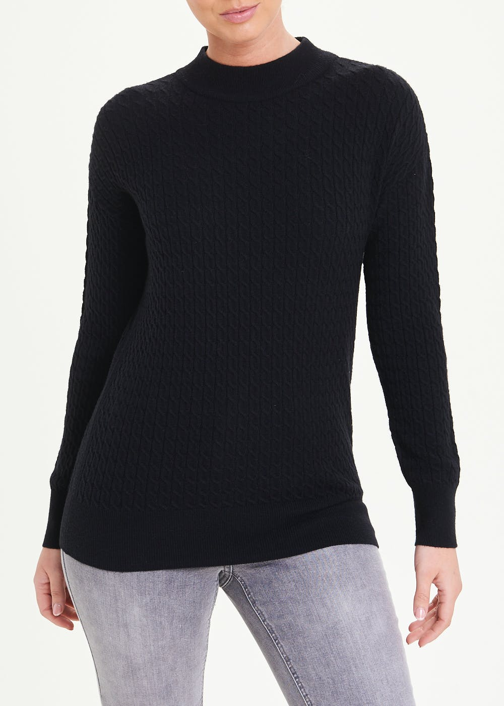 Funnel Neck Baby Cable Jumper – Black