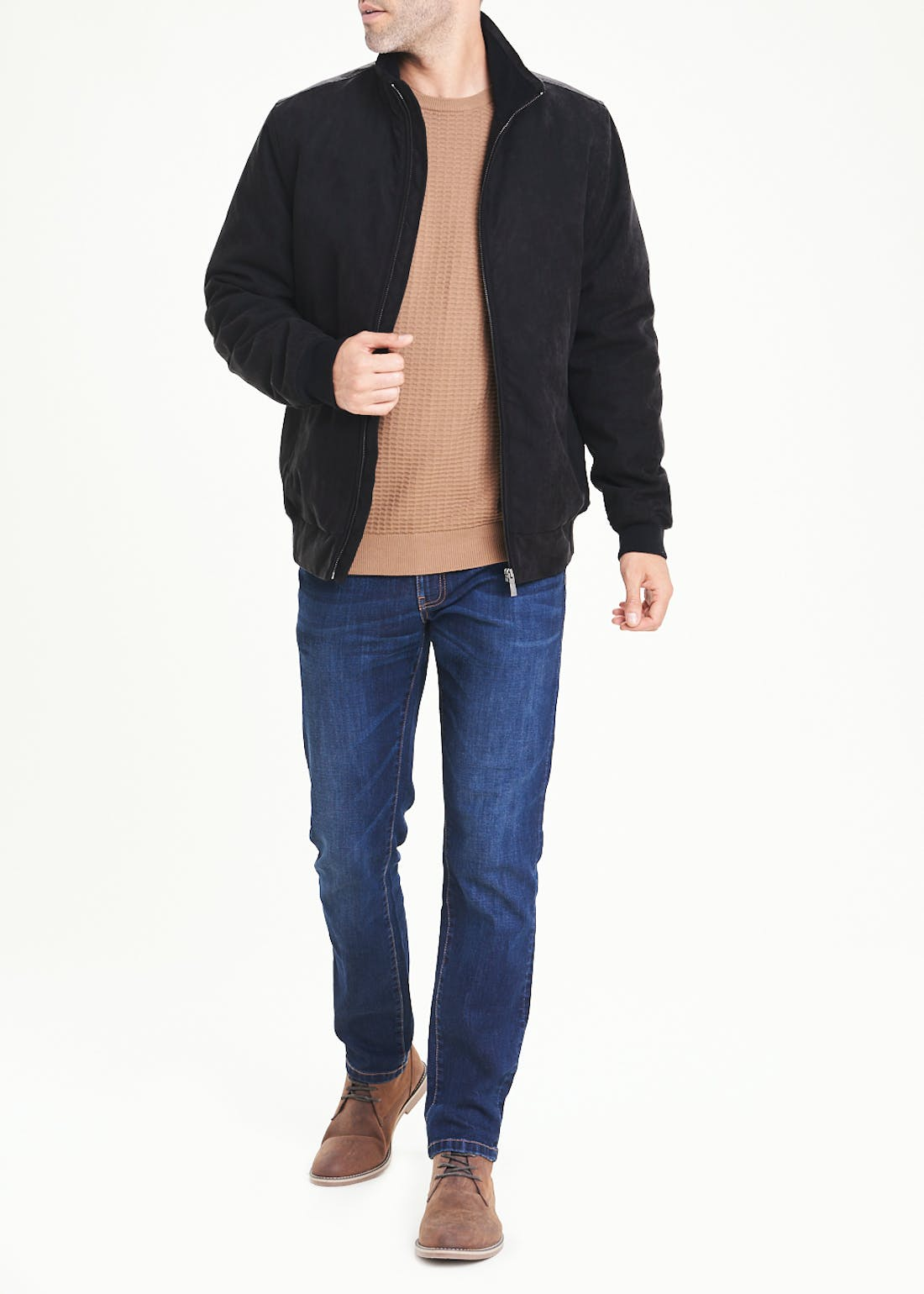Lincoln Charcoal Faux Suede Jacket
