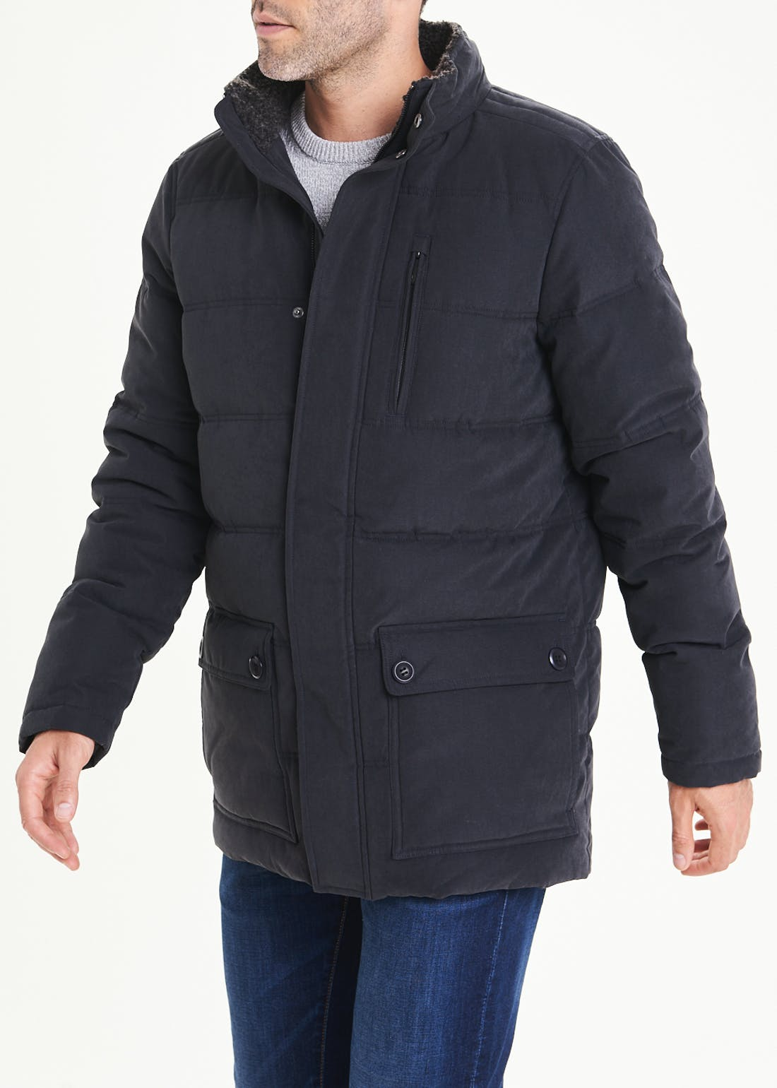 Lincoln Navy Long Puffer Jacket
