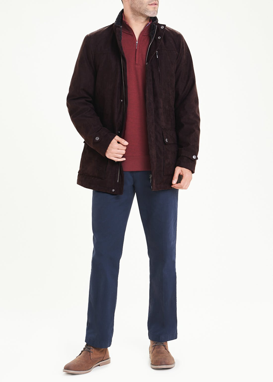Lincoln Brown Faux Suede Jacket