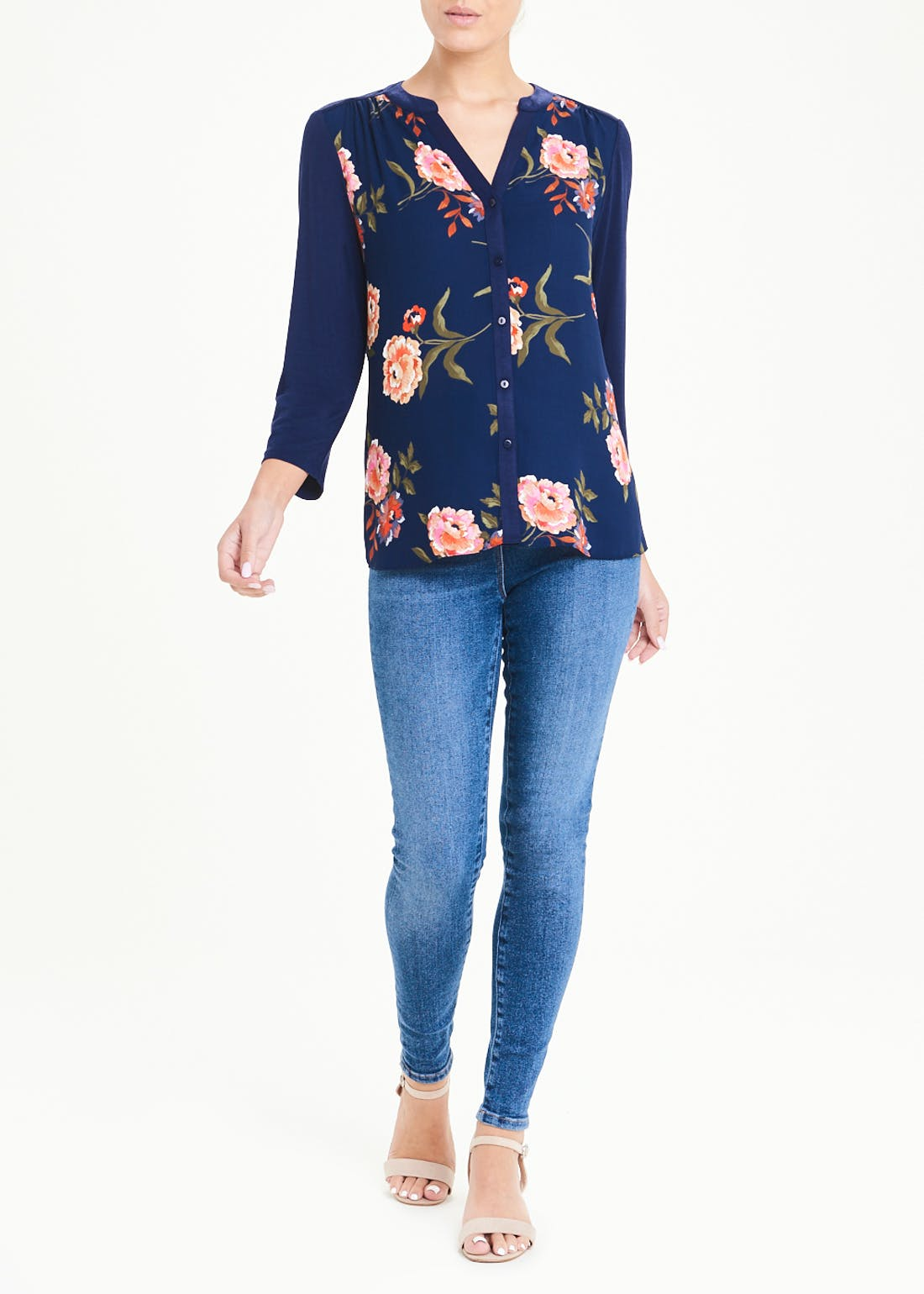 Papaya Classic Navy Floral Jersey Back Top