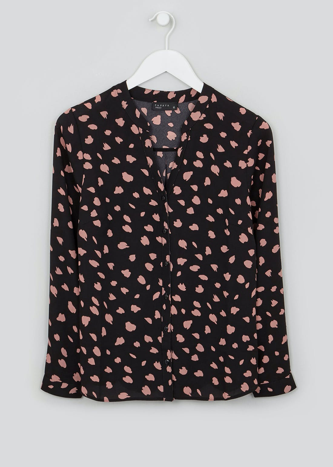 Black Long Sleeve Abstract Spot Blouse