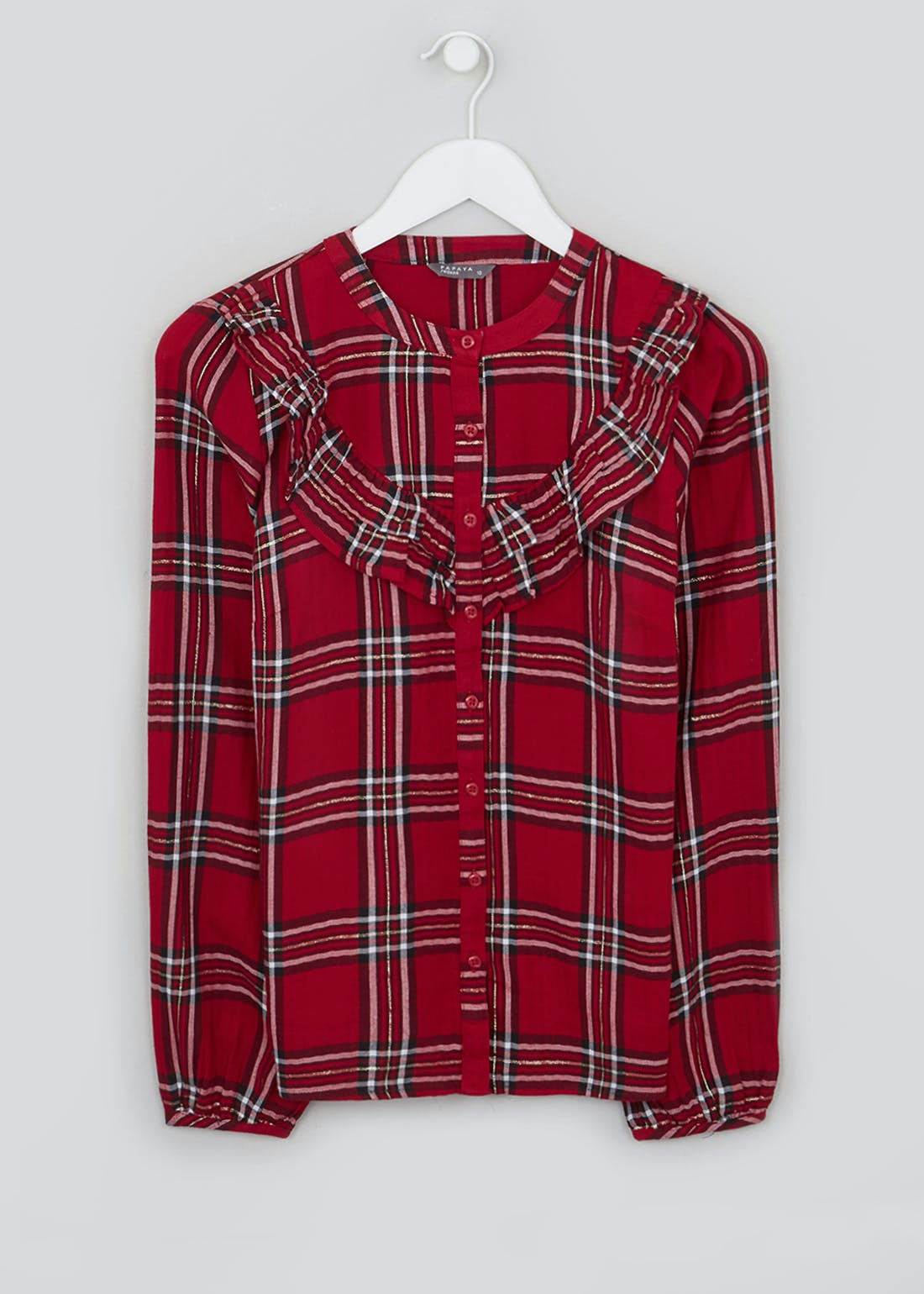 Red Long Sleeve Check Frill Blouse