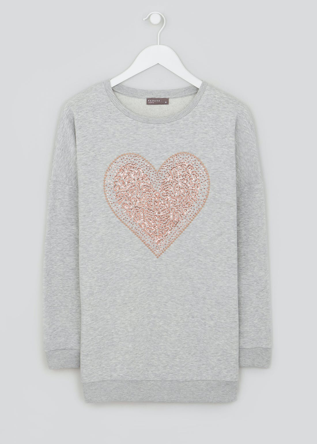 Papaya Curve Heart Stud Sweatshirt
