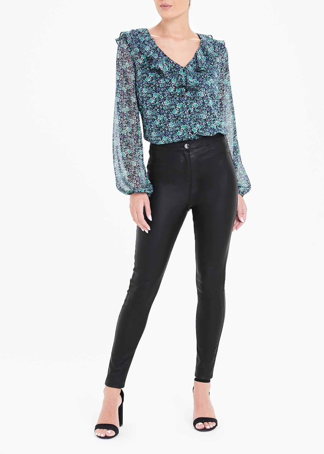Jessie High Waisted Coated Push Up Jeans