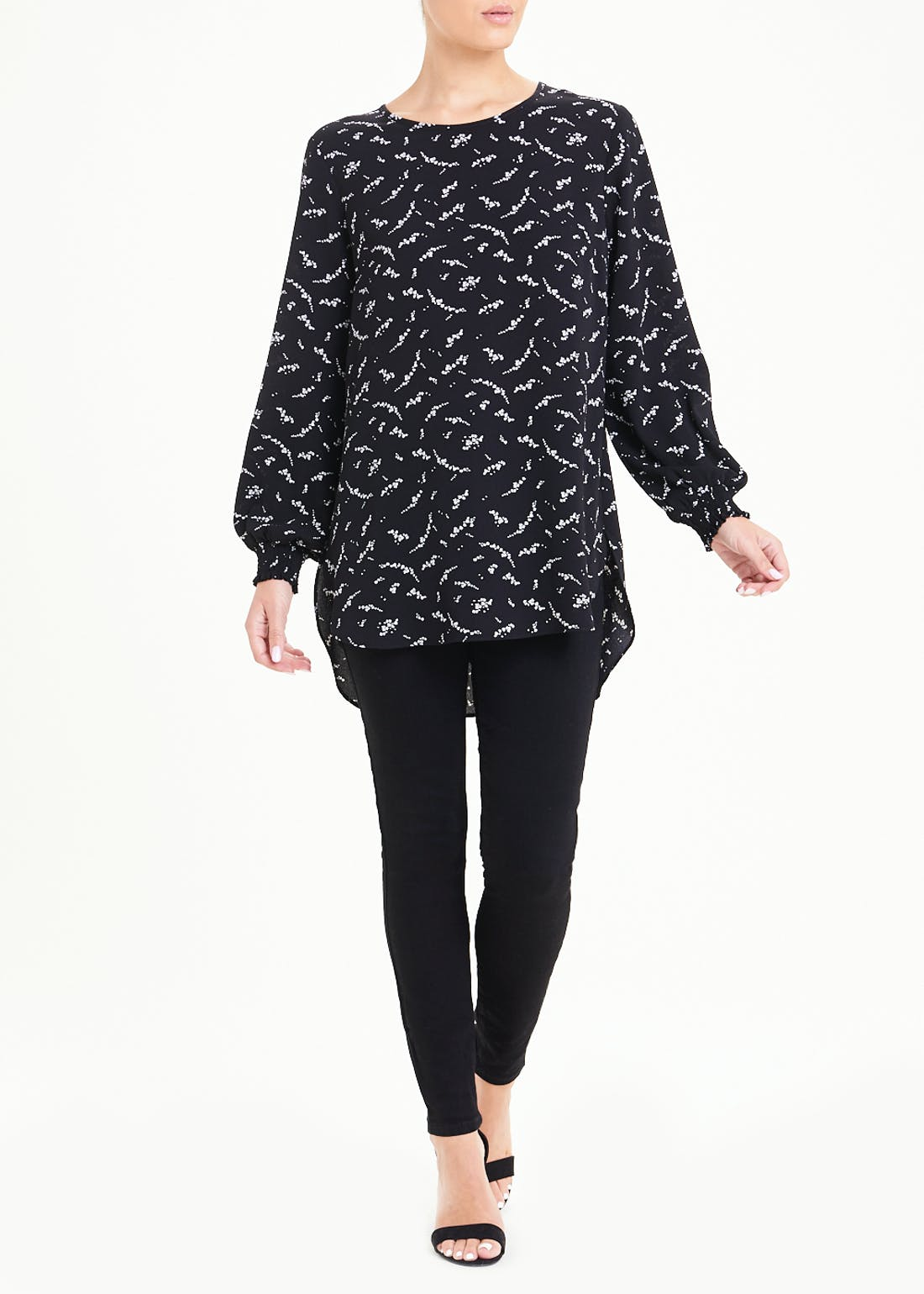 Black Long Sleeve Floral Shirred Cuff Blouse