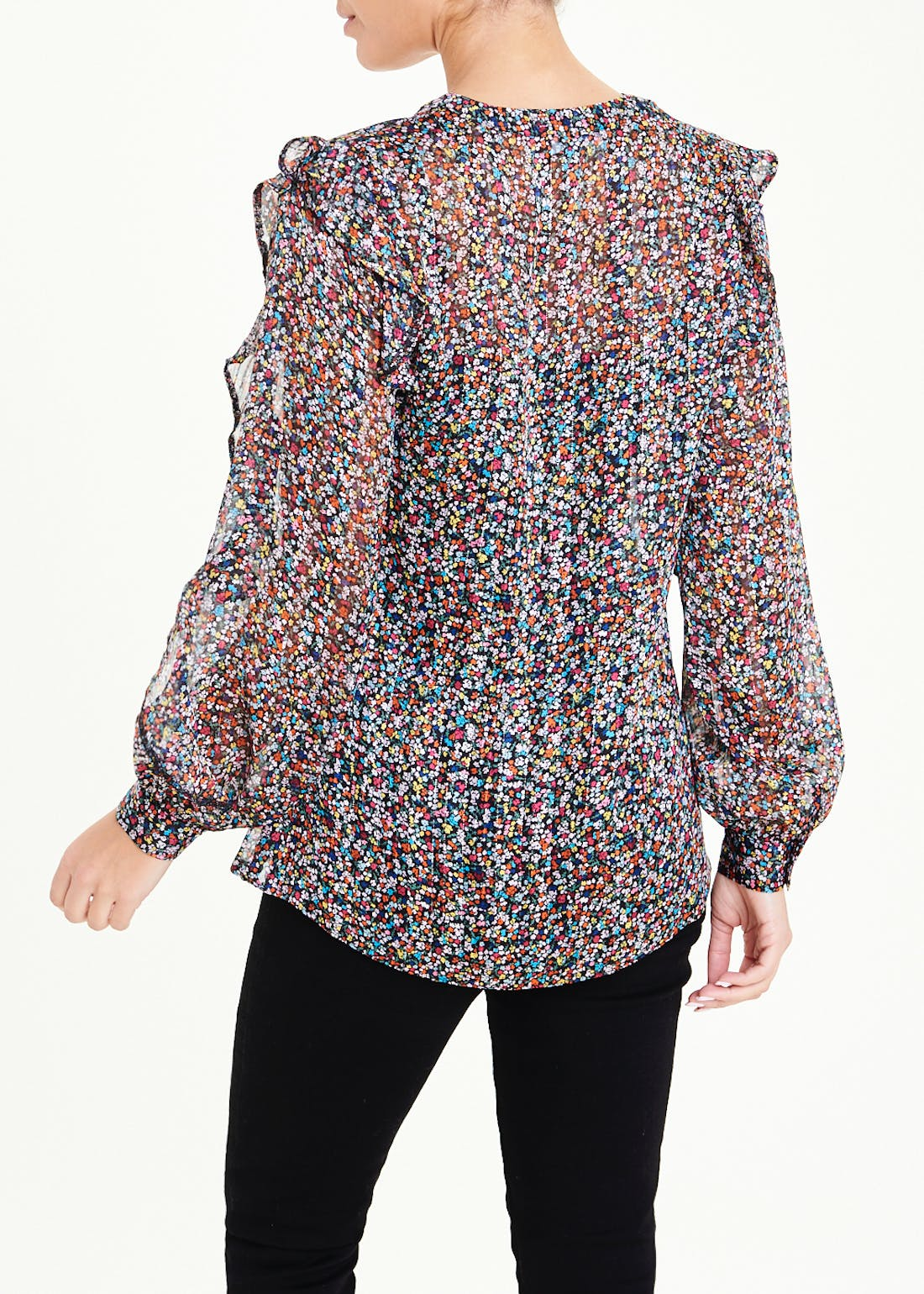Long Sleeve Sparkle Floral Ruffle Blouse