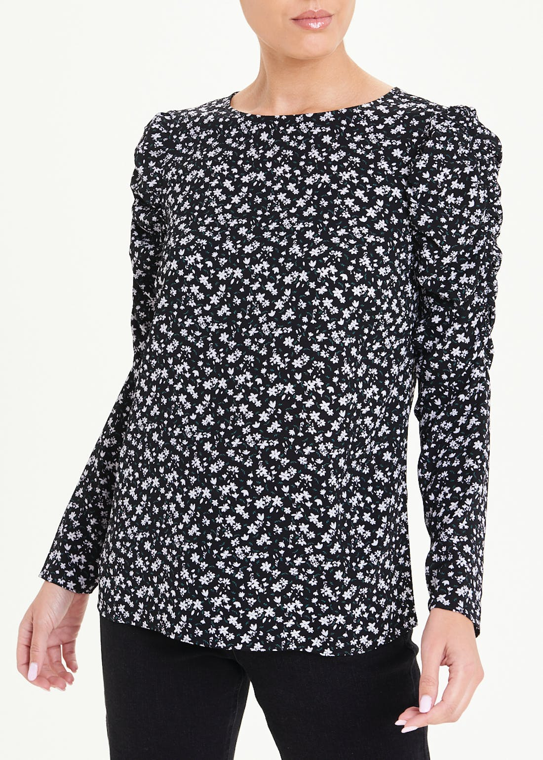 Ruched Long Sleeve Floral T-Shirt