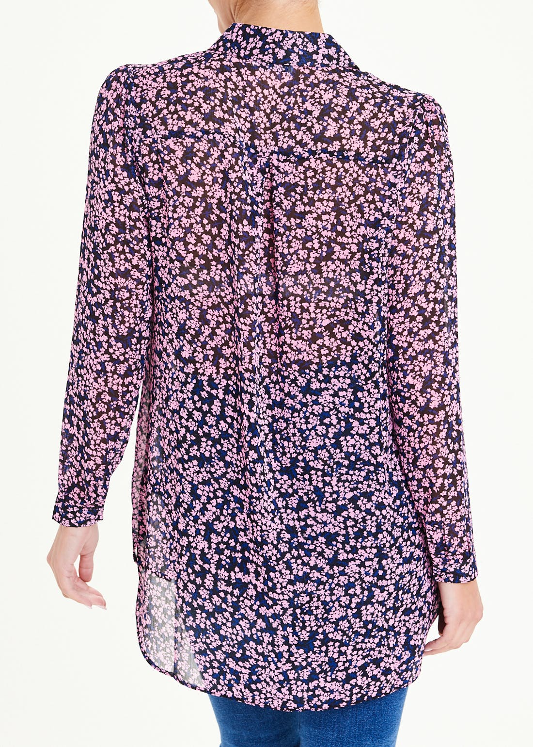 Long Sleeve Longline Sheer Floral Shirt