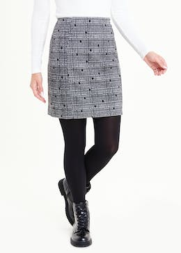 Spot Print Textured Stretch Mini Skirt