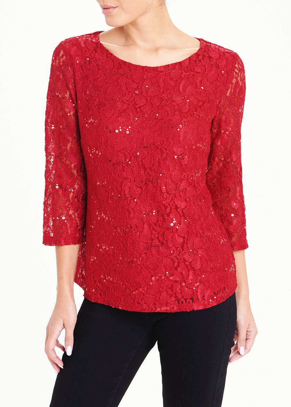 Papaya Classic Red Sequin Lace Top – Red