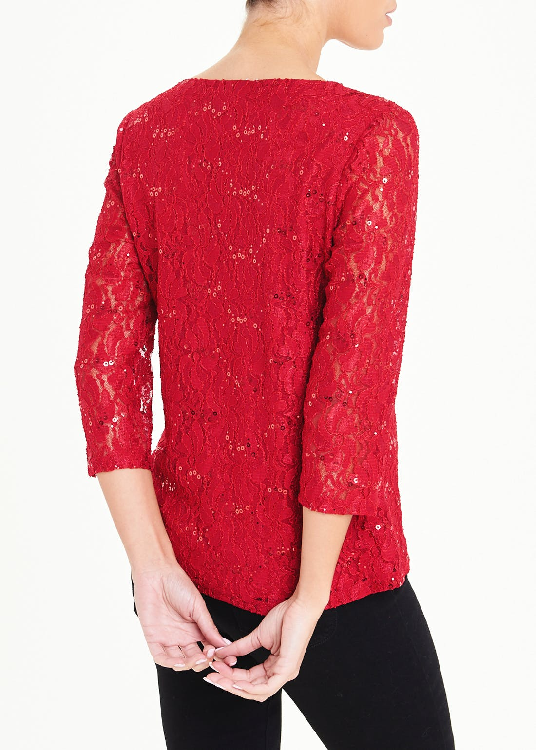 Papaya Classic Red Sequin Lace Top