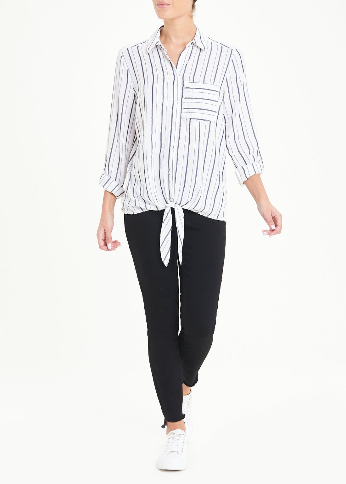 3/4 Sleeve Sparkle Stripe Tie Front Shirt