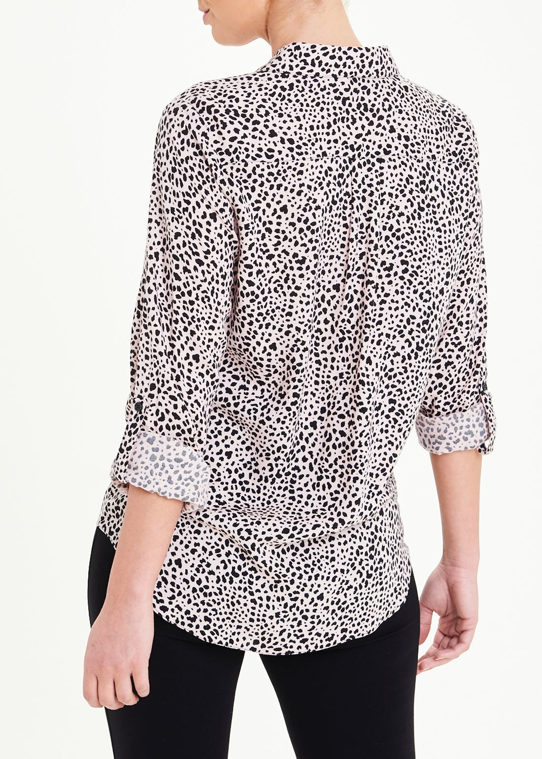 3/4 Sleeve Animal Print Tie Front Shirt