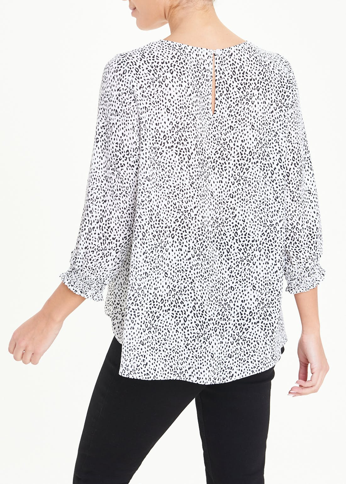 White 3/4 Sleeve Animal Print Blouse