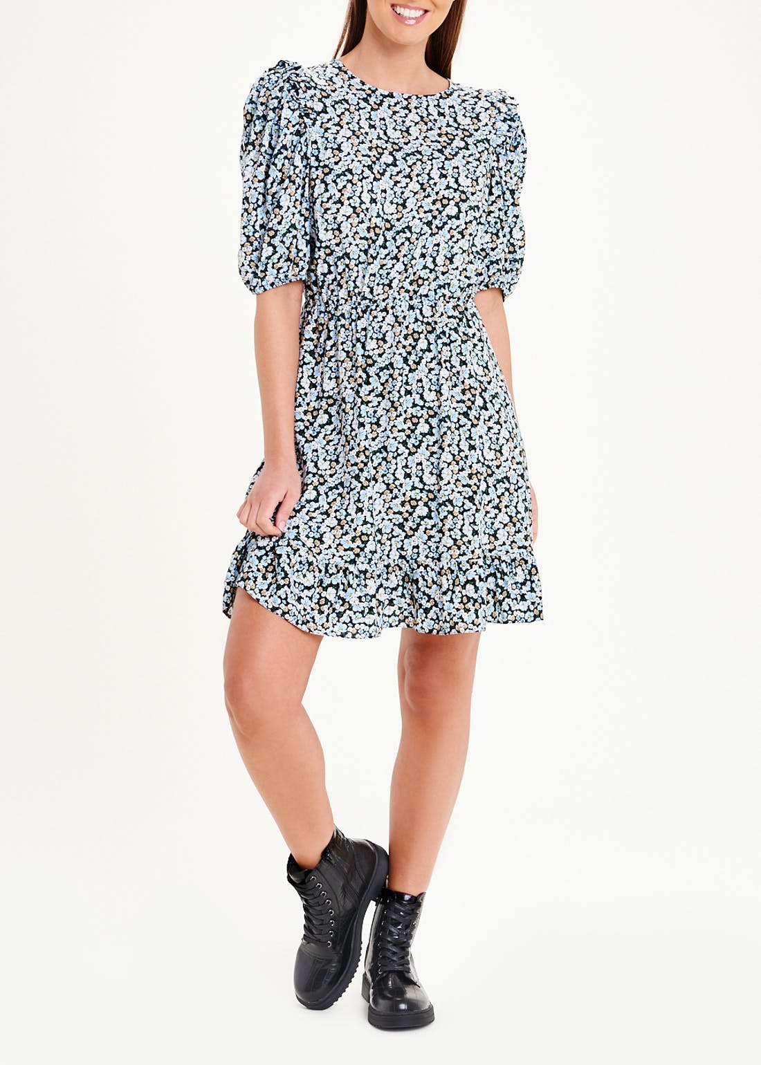 Black Puff Sleeve Floral Mini Dress
