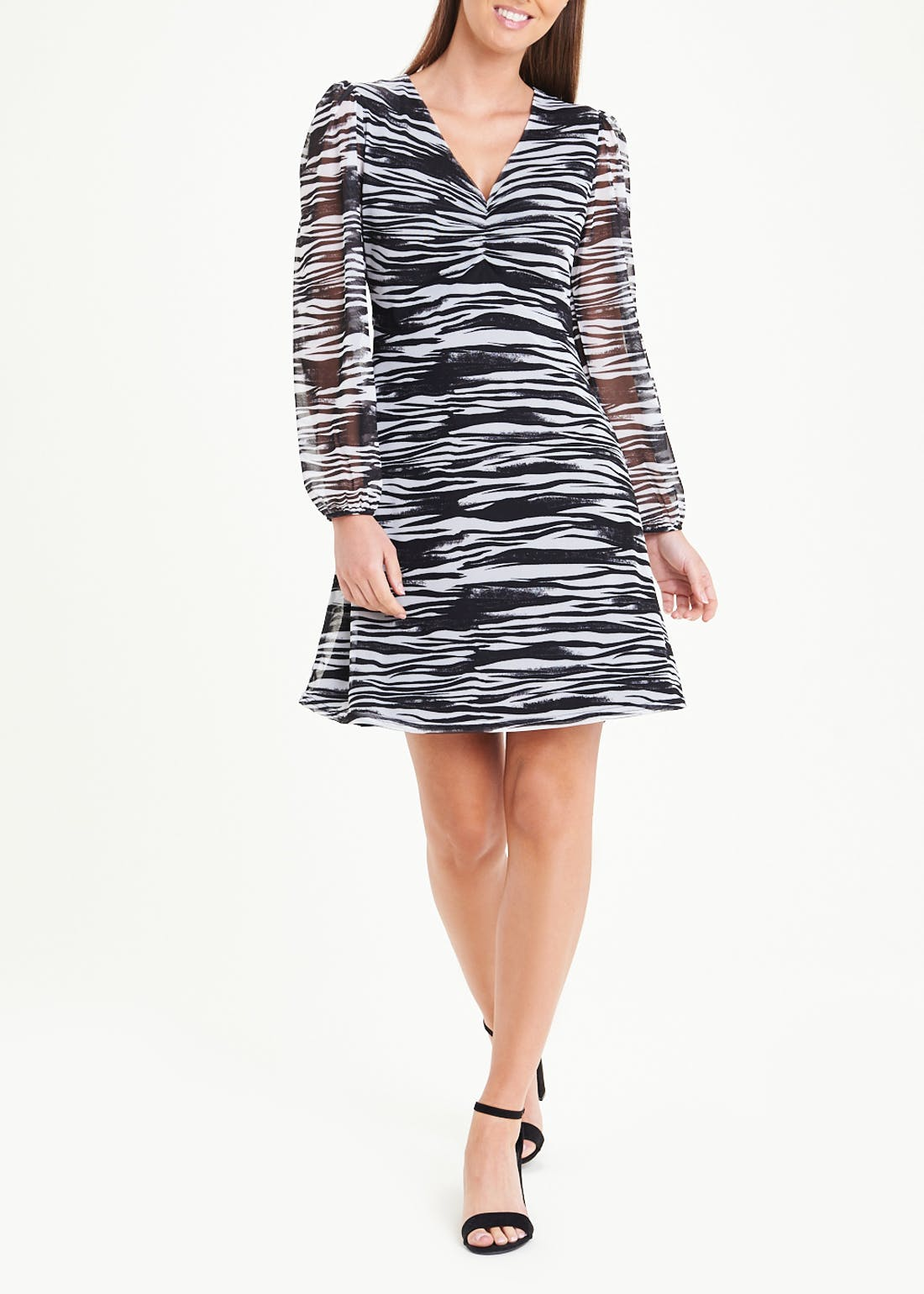 Long Sleeve Zebra Print Mesh Dress