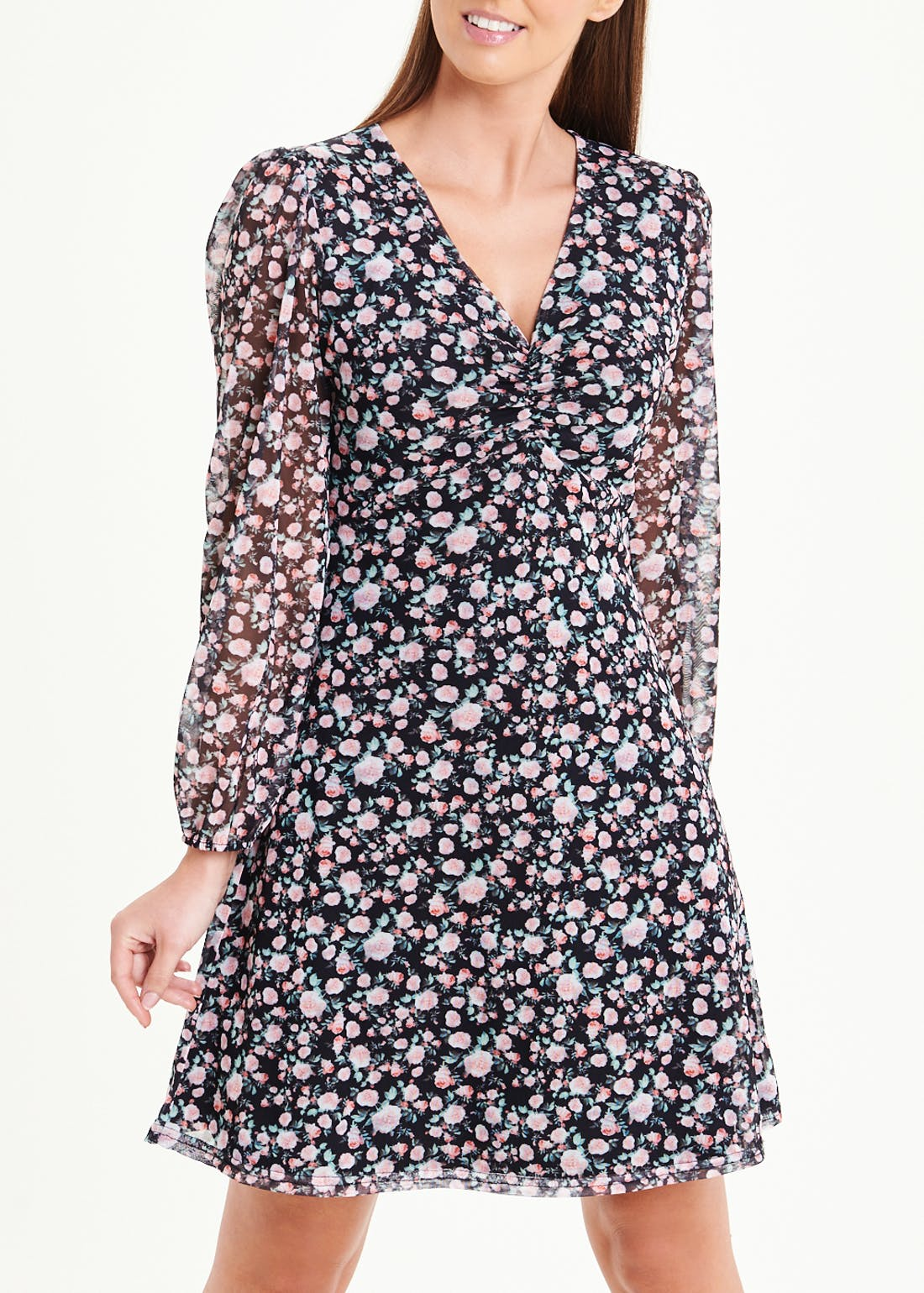 Long Sleeve Floral Mesh Dress