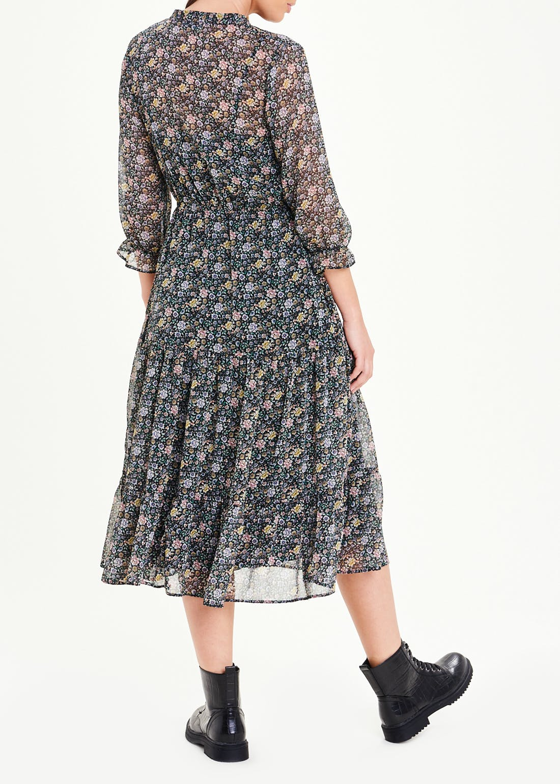 Black 3/4 Sleeve Floral Chiffon Midi Dress