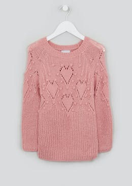 Girls Knitted Heart Jumper (4-13yrs)