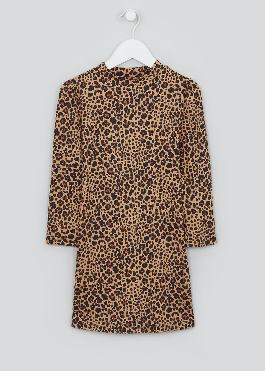 Girls Long Sleeve Leopard Print Swing Dress (4-13yrs)