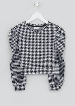 Girls Dogtooth Cropped Ponte Top (4-13yrs)