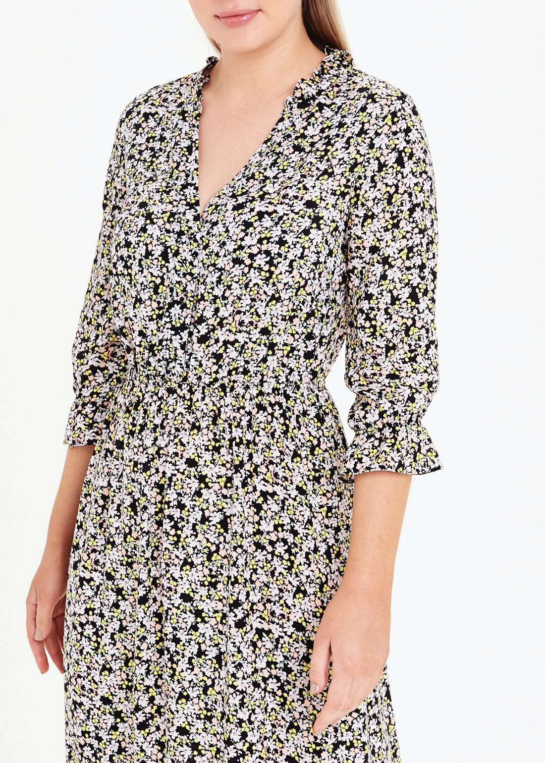 3/4 Sleeve Floral Midi Dress