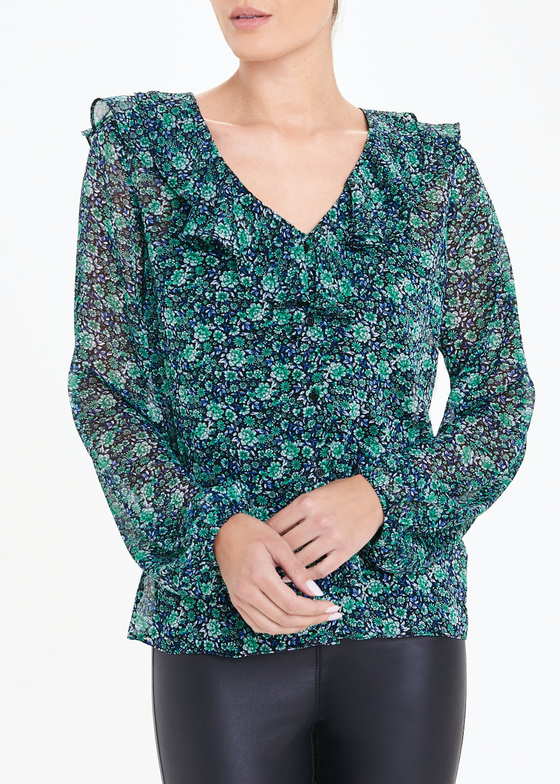 Long Sleeve Ruffle Neck Floral Blouse
