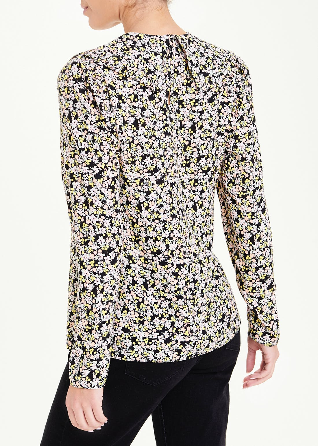 Long Sleeve Ditsy Floral Print Blouse
