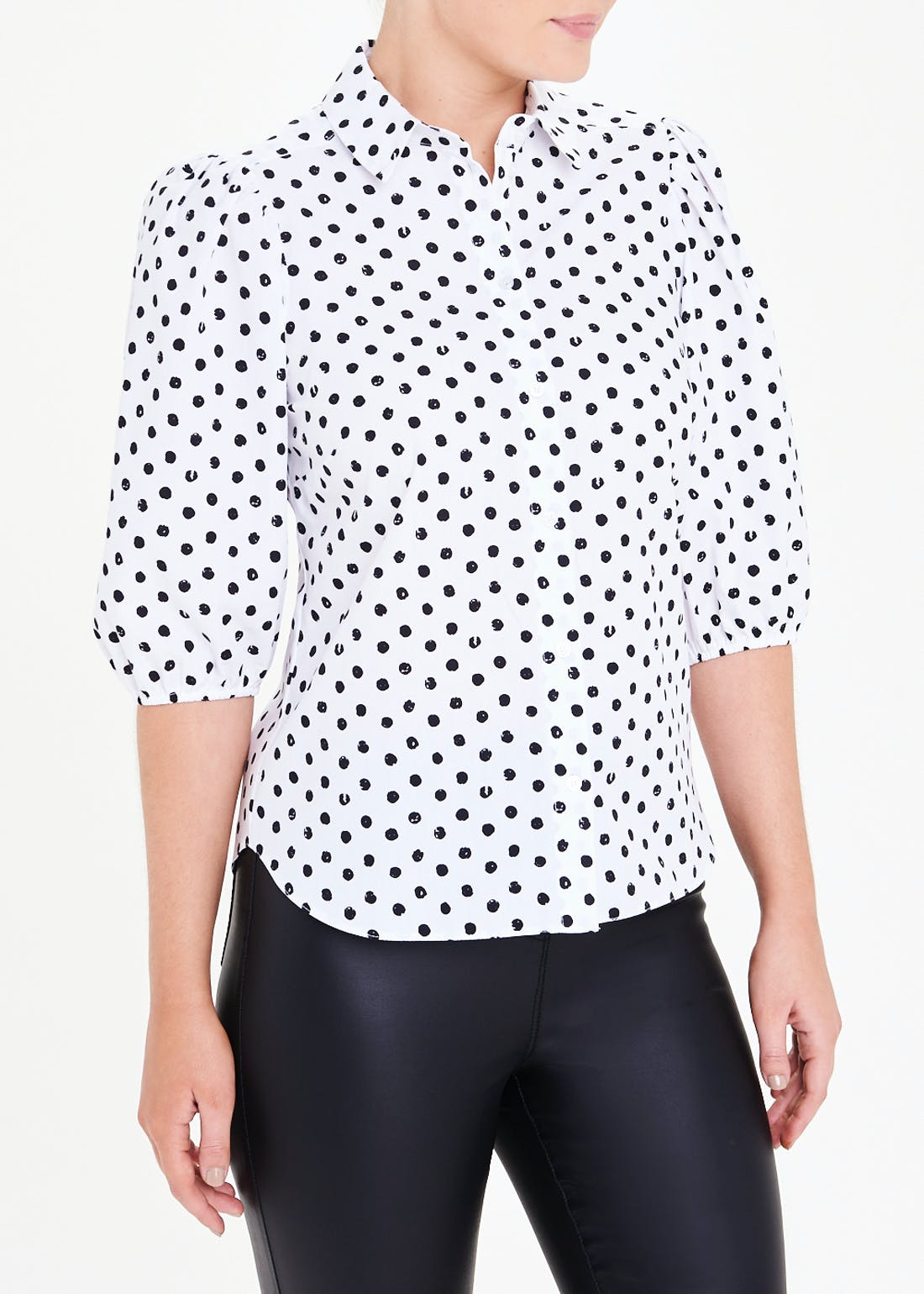 Polka Dot Puff Sleeve Poplin Shirt